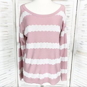 American Eagle | Blush Pink & White Lace Sweater